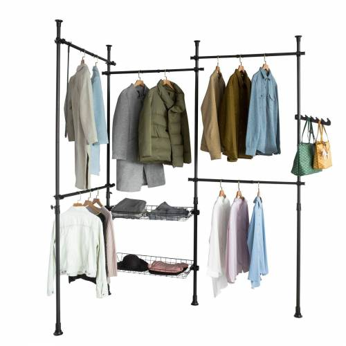 SoBuy Kleiderständer »KLS04«, Garderobenständer mit 5 Kleiderstangen und 2 Körbe verstellbares Regalsystem, schwarz
