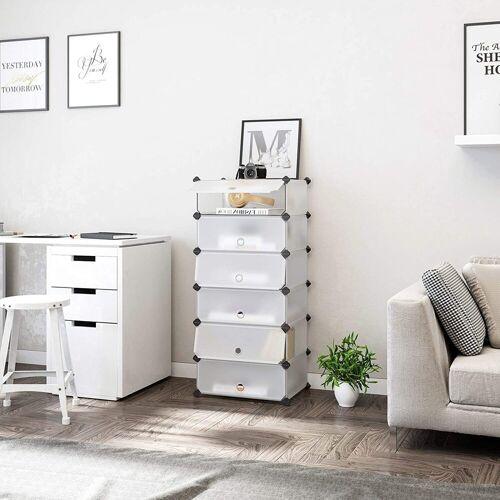 SONGMICS Schuhschrank »LPC06W« DIY Schuhregal mit 6 Türen, aus Kunststoff, Schuhablage, weiß