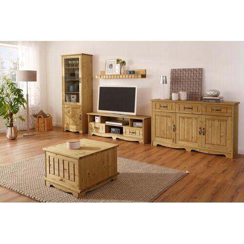 Home affaire Wohnwand »Trinidad«, (Set, 4-tlg), Set aus 1 Sideboard, 1 Lowboard, 1 Wandboard, 1 Vitrine, natur-geölt
