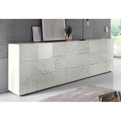 LC Sideboard »Miro«, Breite 241 cm mit dekorativem Siebdruck, Weiß Hochglanz Lack mit Siebdruck