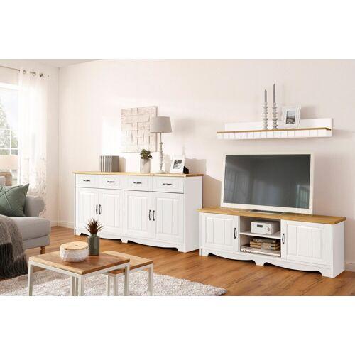 Home affaire Wohnwand »Trinidad«, (Set, 3-tlg), Set aus 1 Wandboard, 1 Sideboard, 1 Lowboard, weiß-honigfarben