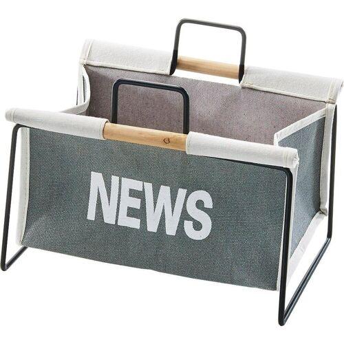 Home affaire Zeitungsständer »Zeitungsständer aus Metall, schwarz und Canvas grau«