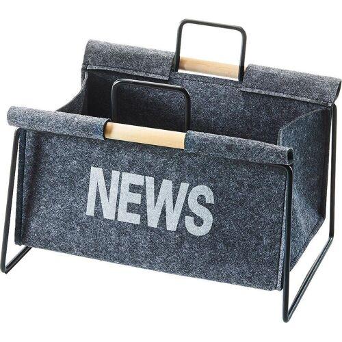 locker Zeitungsständer »Zeitungsständer aus Metall, schwarz und Filz dunkelgrau«