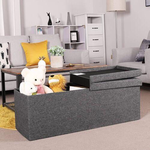 SONGMICS Sitzbank »LSF76GYZ«, Sitztruhe, 110 x 38 x 38 cm, dunkelgrau