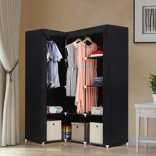 SONGMICS Kleiderschrank »LSF42H« Eck-Kleiderschrank, Stoffschrank, schwarz