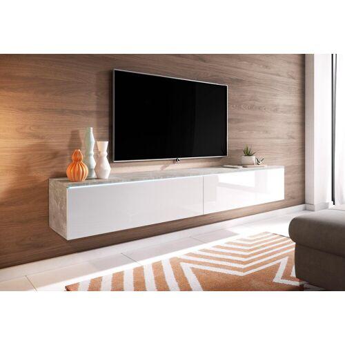 Lowboard, Breite 180 cm, beton/ weiss
