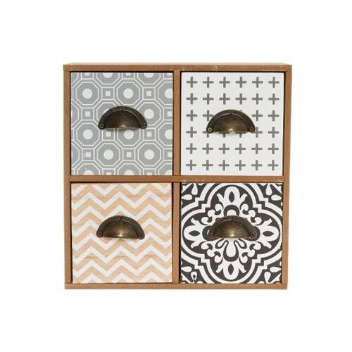 elbmöbel Schmuckregal »Minikommode kleine Kommode Holz Retro Design Schmuckkommode«, Organizer: 4 Schubladen 23x23x11 cm Muster Mix Retro