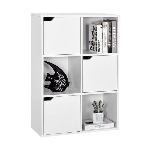 Meerveil Bücherregal Aufbewahrungsregal,Vielschichtiges Bücherregal, Regal aus Holz, Aufbewahrungsschrank für Bücher und DVDs, Sechs Fächer mit 3 Türen, Weiß