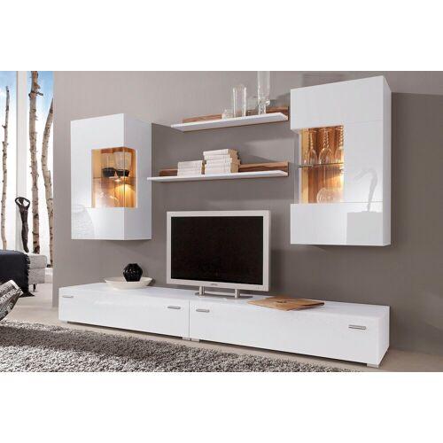 Wohnwand »Happy«, (Set, 6-tlg), weiß-nussbaumfarben
