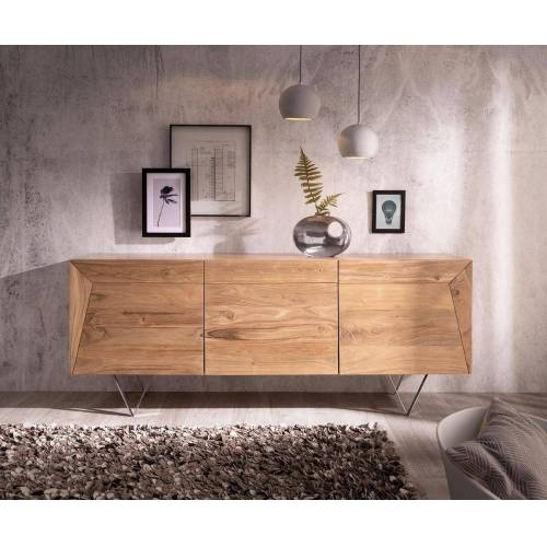 DELIFE Sideboard »Wyatt«, Akazie Natur 175 cm 3D Optik oben Edelstahl Design Sideboard, Natur