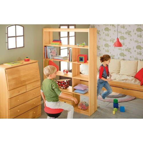 BioKinder - Das gesunde Kinderzimmer Raumteilerregal »Lara«, mit 9 Fächern und 2 Schubladen, Erle