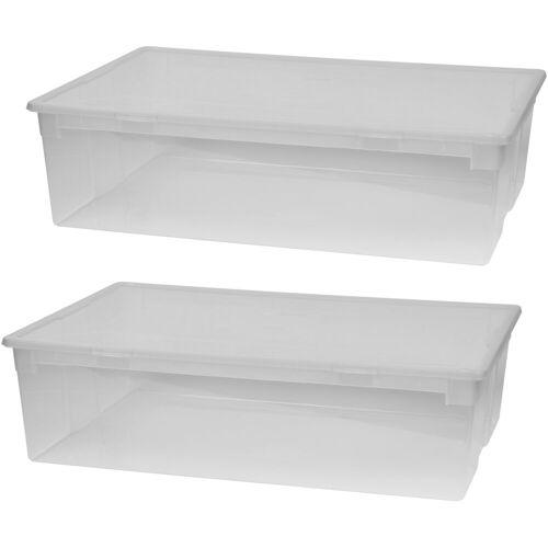 Kreher Aufbewahrungsbox »2er Set Aufbewahrungsboxen mit Deckel, Größe XL«, transparent