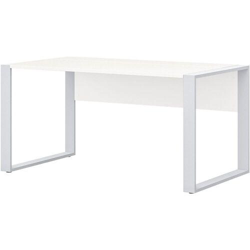 röhr Schreibtisch »Direct Office 2«, mit Klappe für Kabelmanagement und Kufengestell, ABS-Kanten, weiß