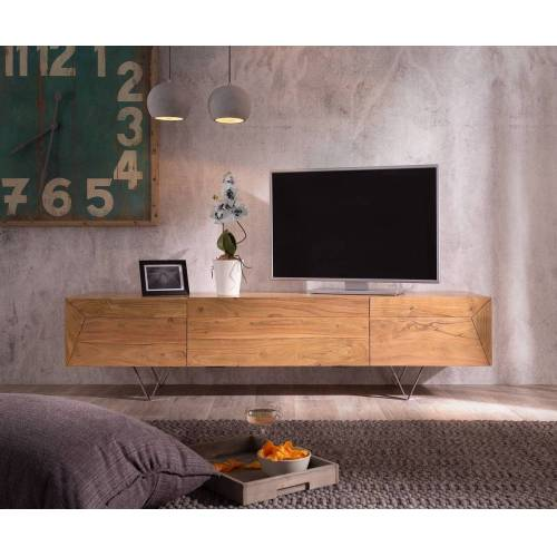 DELIFE TV-Board »Wyatt«, Akazie Natur 175 cm 1 Klappe 2 Türen Designer Lowboard, Natur