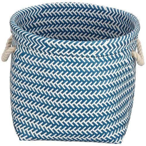 MSV Wäschekorb 35 x 35 x 30 cm, blau/weiß