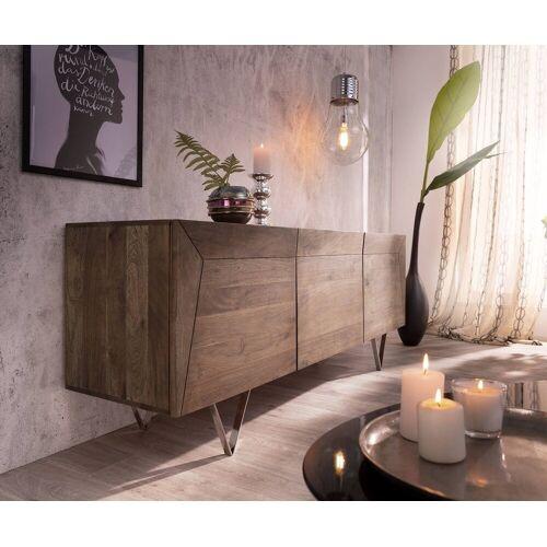DELIFE Sideboard »Wyatt«, Akazie Braun 175 cm 3D Optik oben Edelstahl Design Sideboard, Braun