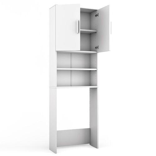 Vicco Waschmaschinenumbauschrank »Waschmaschinenschrank 190 x 64 cm Weiß - Badregal Regal Hochschrank für Waschmaschine Trockner«