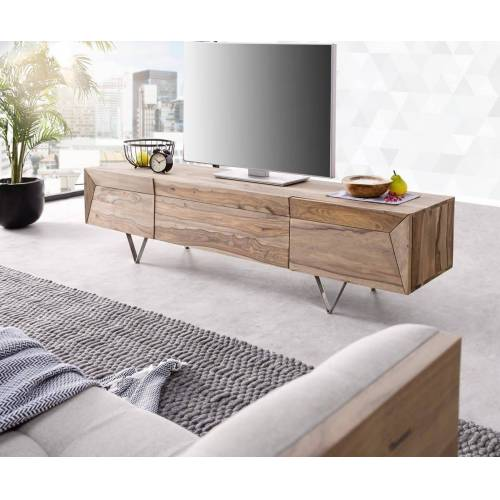 DELIFE TV-Board »Wyatt«, Sheesham Natur 175 cm 1 Klappe 2 Türen Designer Lowboard, Natur