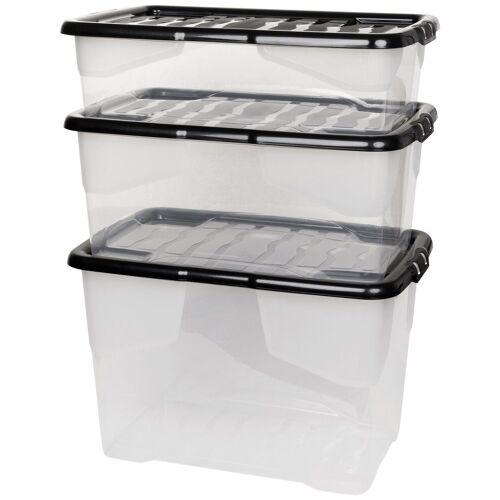 Kreher Aufbewahrungsbox »CURVE«, 3er Set, weiß