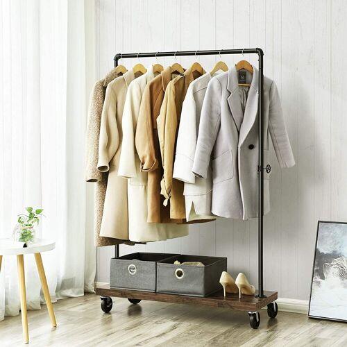 VASAGLE Kleiderständer »HSR65BX«, (set), Schwerlast Kleiderständer, Kleiderstange bis 90 kg belastbar, Garderobenständer mit Ablage, arretierbare Rollen, Industrie-Design, Wasserrohr-Element, Waschküche, Laden, schwarz