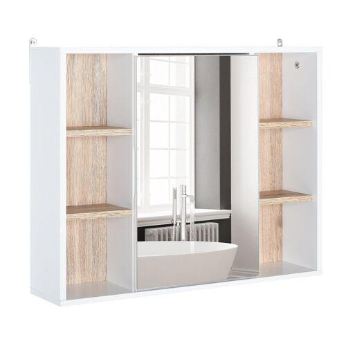 HOMCOM Spiegelschrank »Spiegelschrank mit 6 Regalfächern«