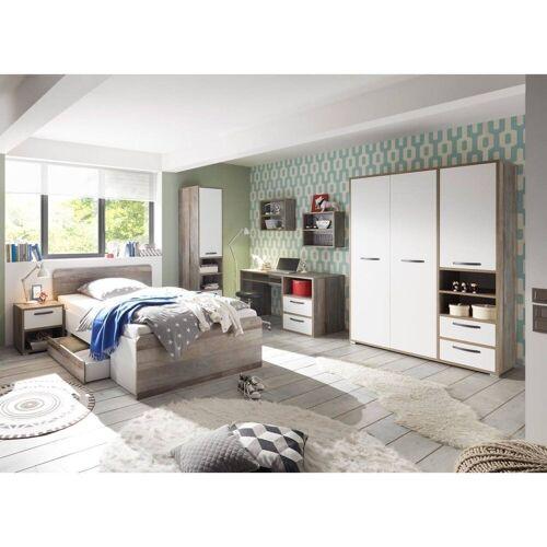 Lomadox Jugendzimmer-Set »MAUI-78«, (Spar-Set, 7-tlg), Jugendzimmer 7-tlg in Driftwood Nb. mit weiß