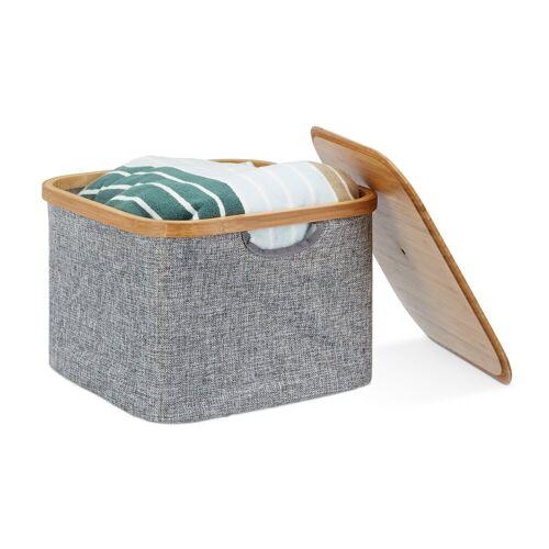 relaxdays Aufbewahrungskorb »Aufbewahrungskorb Stoff grau«
