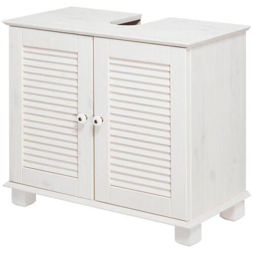 welltime Waschbeckenunterschrank »Sund«, Breite 63 cm, aus Massivholz, weiß