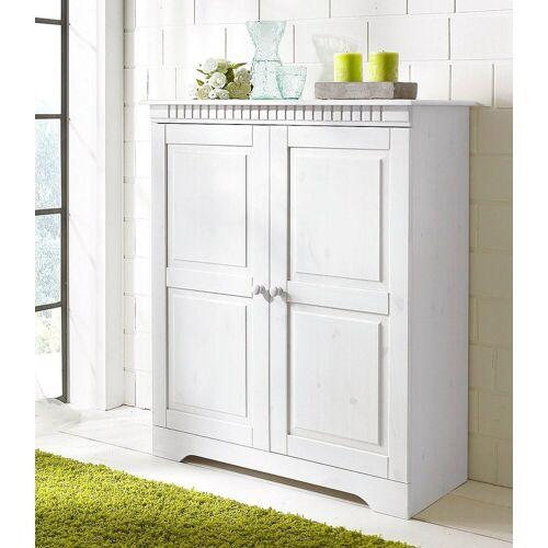 Home affaire Kommode »Cubrix«, aus schönem massivem Kiefernholz, Höhe 100 cm, weiß