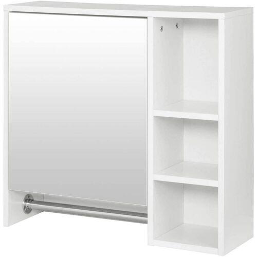 Woltu Spiegelschrank Spiegelschrank mit 6 Ablagen mit Tür in Weiß