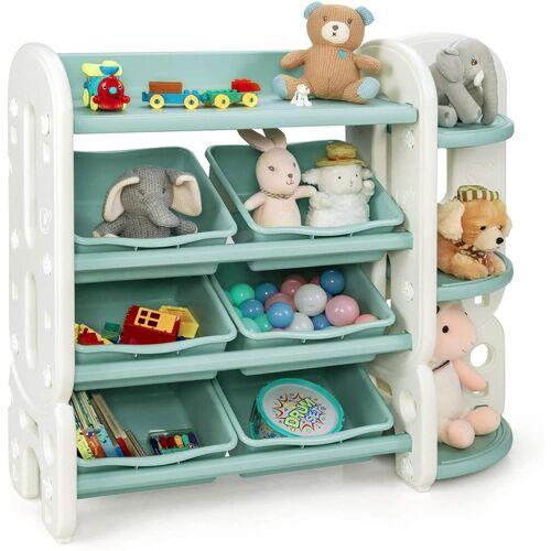 COSTWAY Eckregal »Spielzeugregal«, mit 6 Aufbewahrungsboxen und 4 Ablagen, Eckregal aus Kunststoff, Kinderregal, Aufbewahrungsregal ideal für Kinderzimmer und Kindergarten
