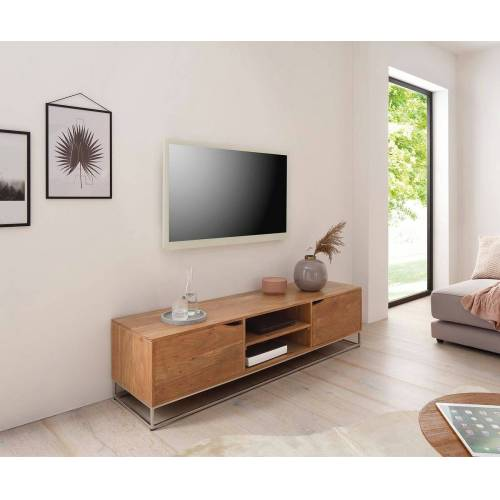 DELIFE Lowboard »Loca«, Loca Akazie Natur 160x40 cm Massiv Lowboard