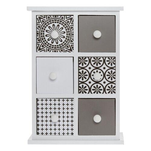 elbmöbel Schmuckregal »Minikommode Schmuckkommode Holz Tischkommode Retro Design«, Organizer: 6 Schubladen 21x30x9 cm moderner Muster Mix