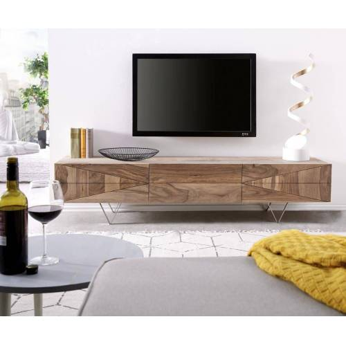DELIFE TV-Board »Wyatt«, Sheesham Natur 175 cm 2 Türen 1 Klappe Lowboard, Natur