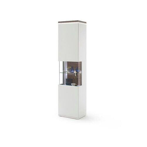 DELIFE Vitrine »Bari« Weiss Matt 210x60 cm Vitrine LED