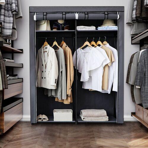 SONGMICS Kleiderschrank »RYG02BK RYG02GY« Garderobe mit Kleiderstangen, Aufbewahrung, grau, Grau