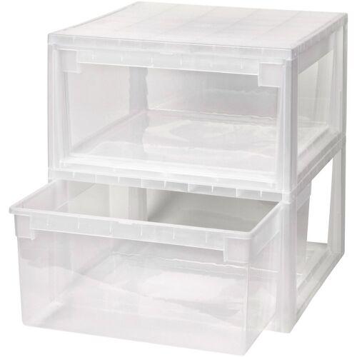 Kreher Aufbewahrungsbox »2x 23 Liter, mit Schubladen« 2er Set, transparent