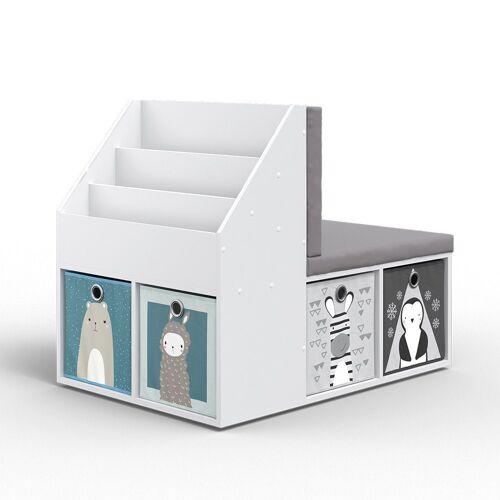 Vicco Standregal »Kinderregal ONIX mit Sitzbank 6 Faltboxen Kindersitzbank Kinderzimmerregal«