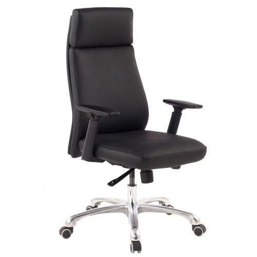 Amstyle Chefsessel »SPM1.800« Bürostuhl PORTO Echt-Leder Schwarz ergonomisch mit Kopfstütze Design Chefsessel Schreibtischstuhl ergonomisch mit Wippfunktion Drehstuhl mit Armlehnen X-XL 120 kg