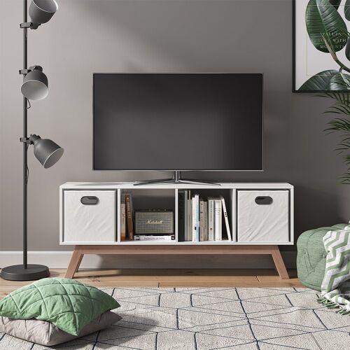 Vicco Raumteiler »Ludus 4 Fächer Standregal Lowboard Sideboard Kommode TV-Board«, Weiß Teak