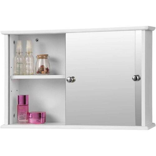 Woltu Spiegelschrank Spiegelschrank für Badezimmer mit Ablage aus Holz weiß