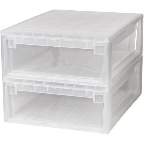 Kreher Aufbewahrungsbox »2x 22 Liter, mit Schubladen« 2er Set, transparent