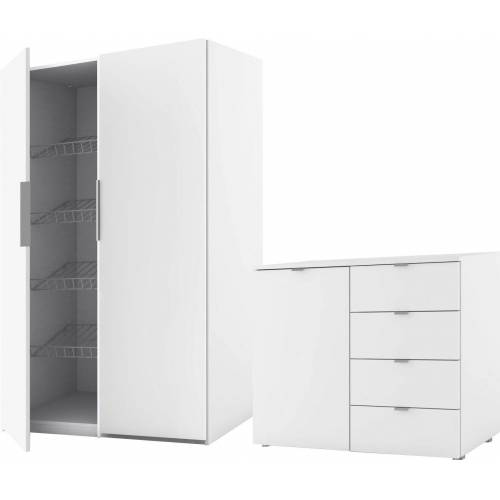 Express Solutions Garderoben-Set »Escalo«, (Set, 2-tlg), polarweiß/polarweiß