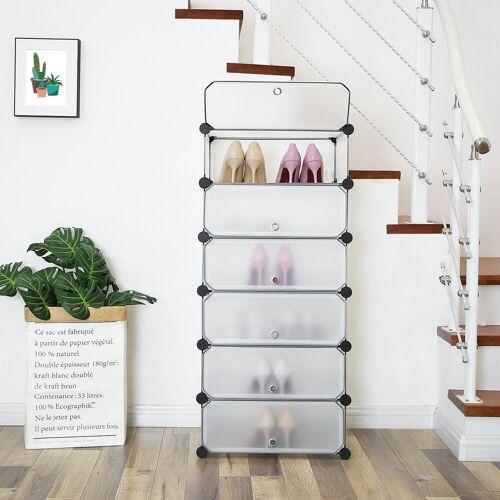 SONGMICS Schuhschrank »LPC06W« DIY Schuhregal mit 6 Türen, aus Kunststoff, weiß