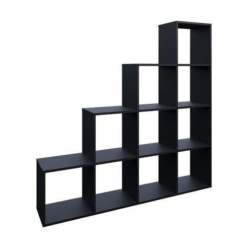 Vicco Stufenregal »Treppenregal 10 Fächer Schwarz - Raumteiler Bücherregal«