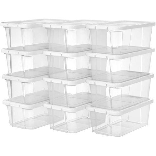 SONGMICS Schuhbox »LSP12WT LSP12BK«, 12er Set Aufbewahrungsboxen, weiß, weiß
