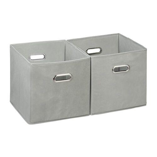 relaxdays Aufbewahrungsbox »Aufbewahrungsbox Stoff 2er Set«, Grau
