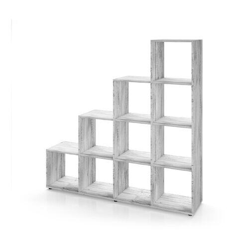 Vicco Stufenregal »Treppenregal 10 Fächer Grau Beton - Raumteiler Bücherregal«
