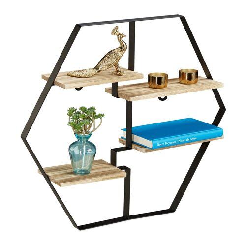 relaxdays Wandregal »Hexagon Regal für die Wand«