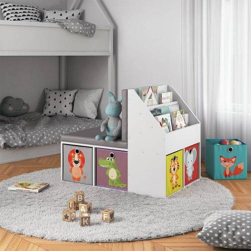Vicco Bücherregal »Kinderregal ONIX mit Sitzbank 6 Faltboxen Kindersitzbank Kinderzimmerregal«